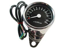 Tachometer - Chrome body - Black face - with mount