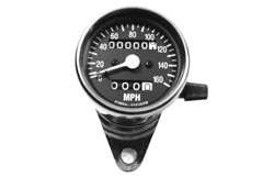 Speedometer MPH - Chrome Mini - Black face - with mount